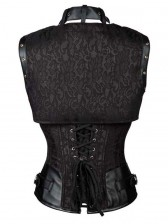 Vintage Black Steel Boned Jacquard Busk Closure Underbust Corset with Jacket