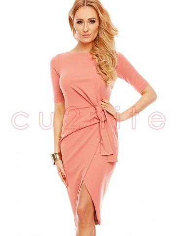 Women's Exquisite Pink Half Sleeve High Waist Lace Up Bodycon Dress